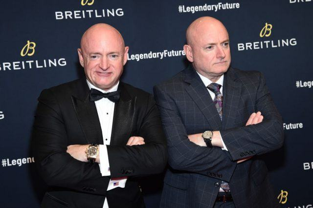 """Astronauts Mark Kelly with Scott Kelly on the red carpet at the """"#LEGENDARYFUTURE"""" Roadshow 2018 New York"""