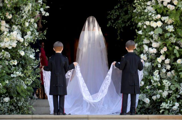 The pageboys escorting Meghan Markle into the church.