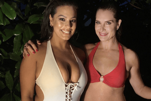 Ashley Graham and Brooke Shields in swimsuits.