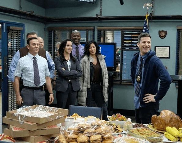 The cast of 'Brooklyn Nine-Nine' in their break room.