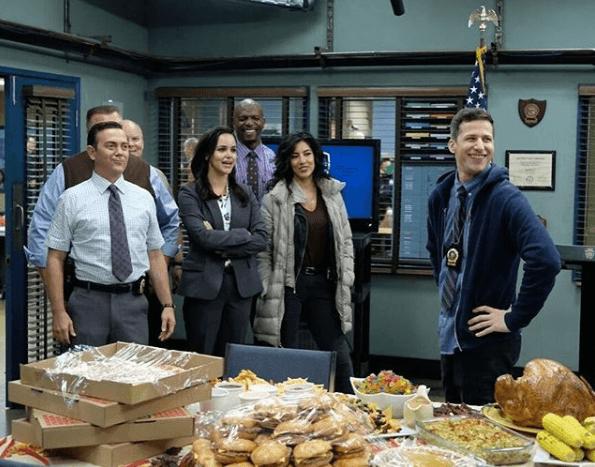 The cast of 'Brooklyn Nine-Nine' in their break room.