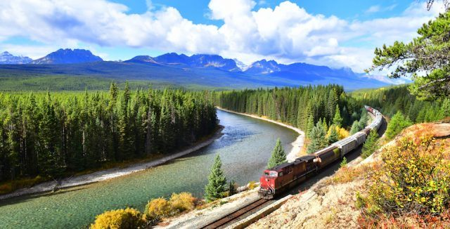 Canadian Pacific Railway in Banff National Park, Canada