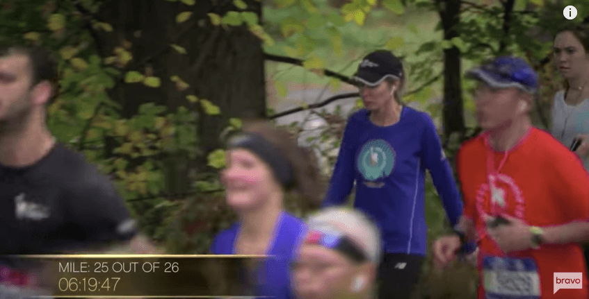 Carole Radziwill running a marathon in Real Housewives of New York