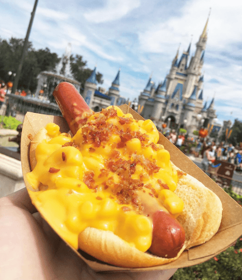 Macaroni and cheese on a hot dog.