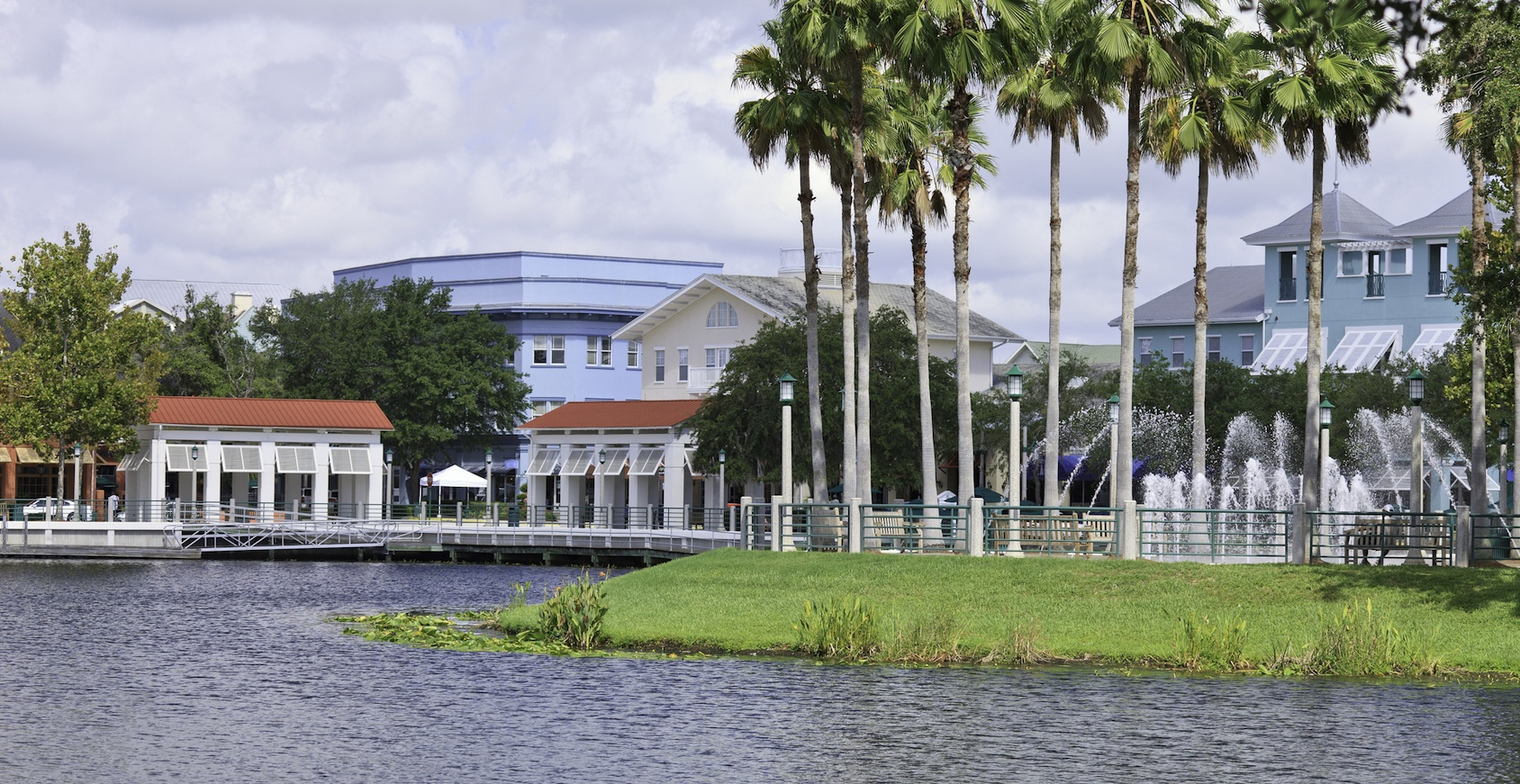 Waterside View of Celebration Florida Downtown & Lakefront
