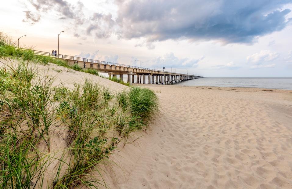 Chesapeake Bay Bridge from the beach at Chic's Beach, Virginia Beach, Va.