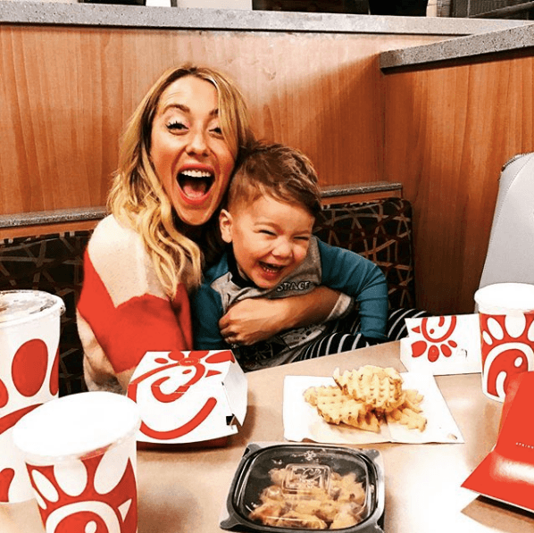 A mother and her child at Chick-fil-A