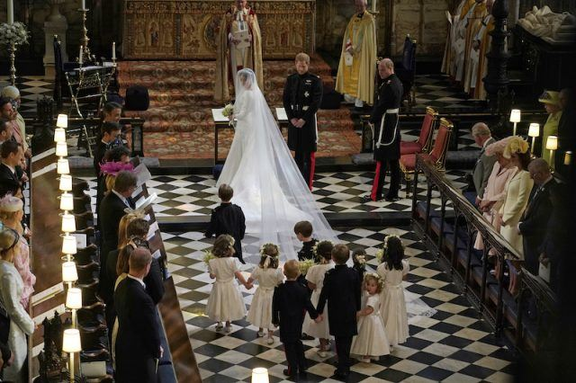 Meghan Markle with her pageboys and bridesmaids.