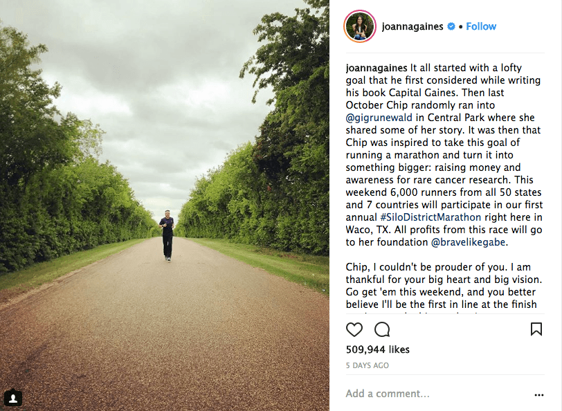 Joanna Gaines posts about Chip's marathon goals