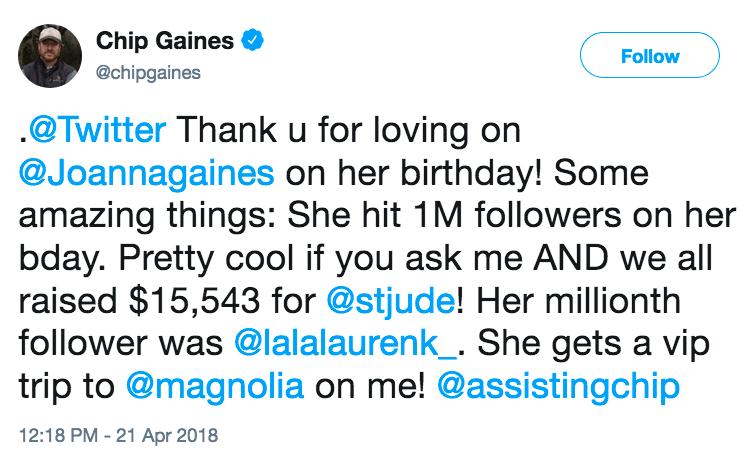 Chip Gaines tweet