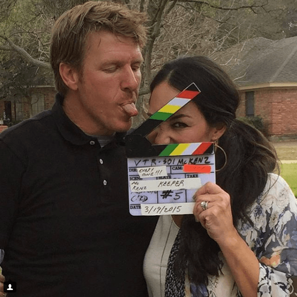 Chip and Joanna Gaines on set