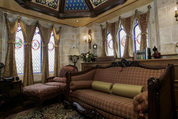 An interior view of the sitting room in the royal suite inside Cinderella's Castle at Walt Disney World