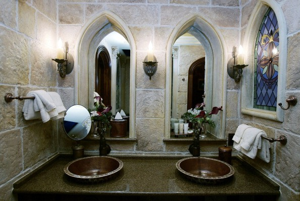 An interior view of the bathroom in the royal suite inside Cinderella's Castle at Walt Disney World