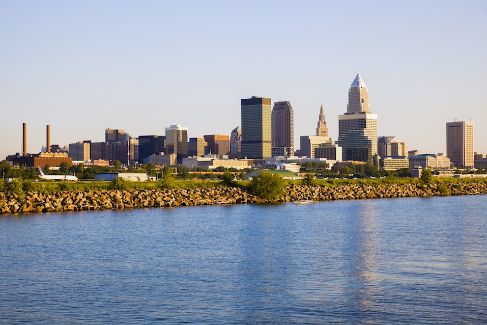 Cleveland skyline seen from Lake Erie