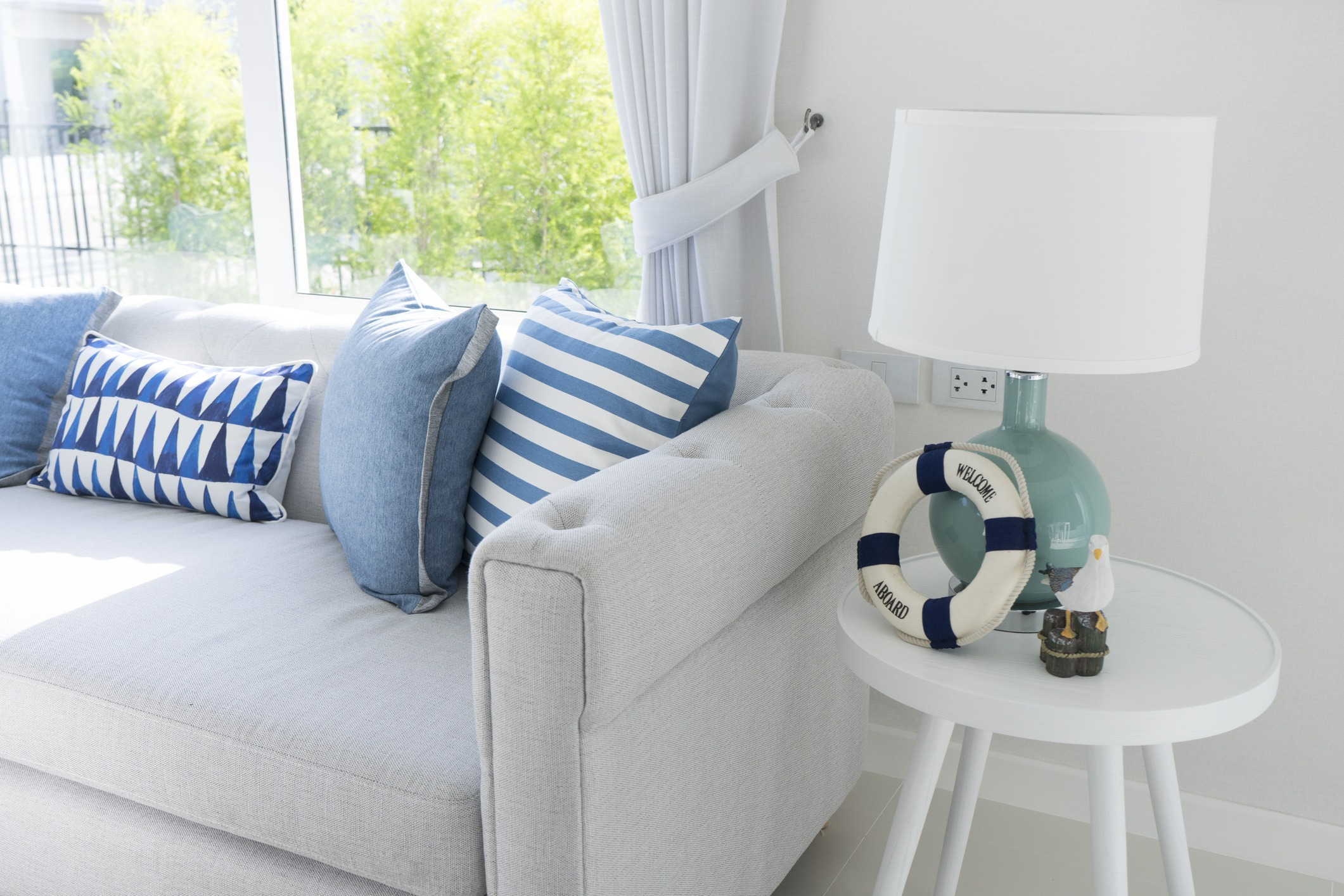 blue table lamp in living room