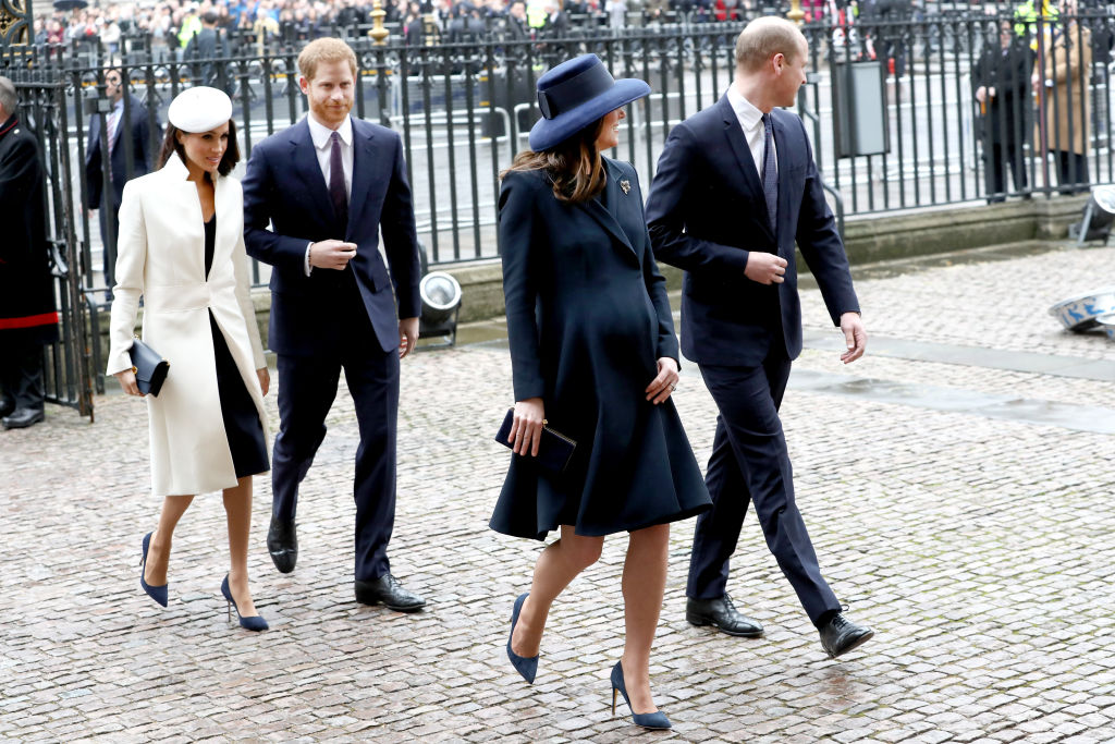 Meghan Markle, Prince Harry, Prince William, and Kate Middleton walking