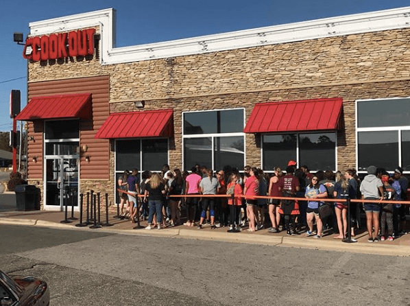 The line for Cook Out
