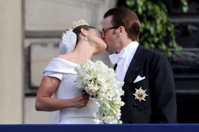 Crown Princess Victoria of Sweden, Duchess of Västergötland, and her husband Prince Daniel, Duke of Västergötland, meet the general public as they appear on the Lejonbacken Terrace after their wedding ceremony.