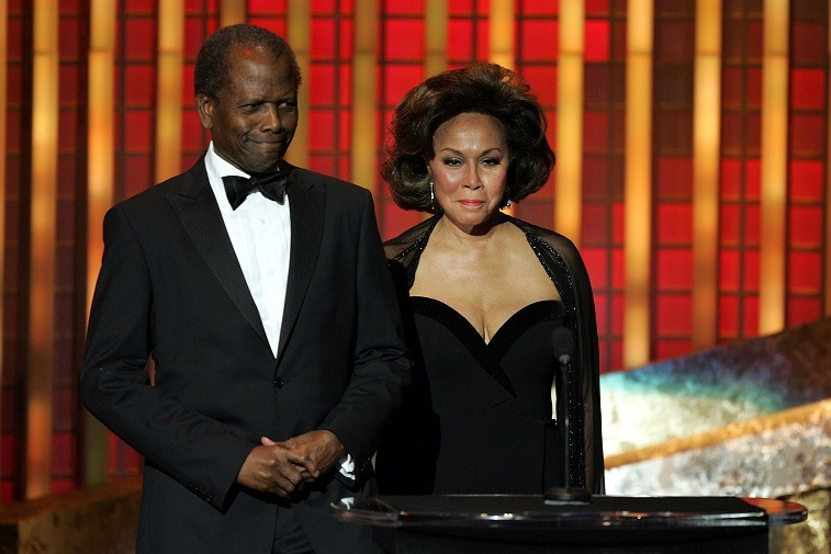 Diahann Carroll and Sidney Poitier are seen on stage at the 36th NAACP Image Awards at the Dorothy Chandler Pavilion on March 19, 2005 in Los Angeles, California.