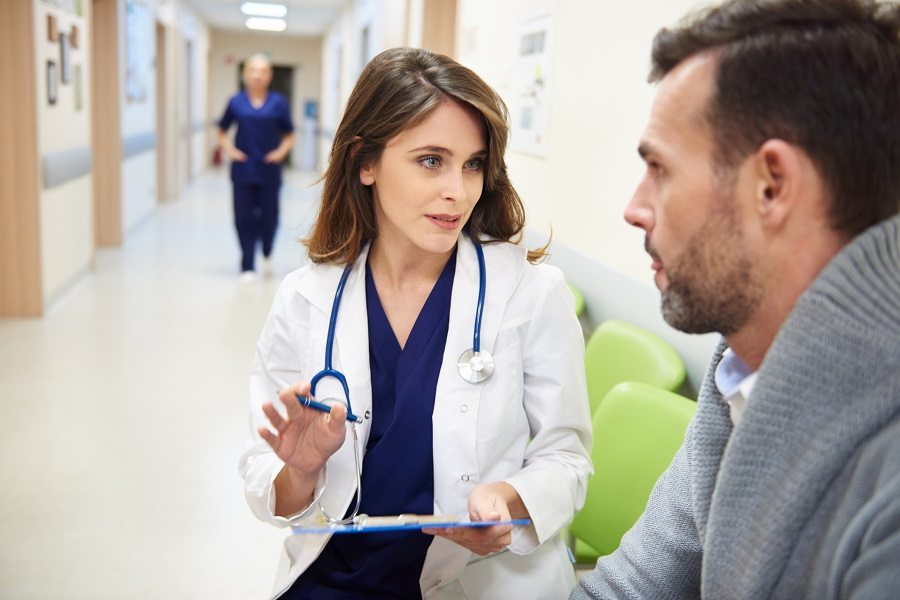 Doctor and patient brain cancer