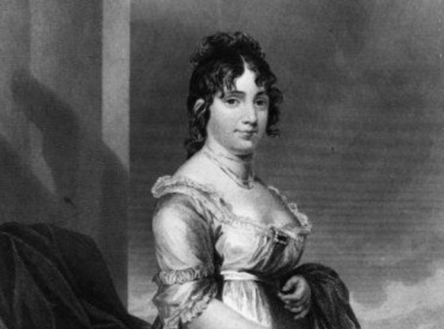 Dolley Madison in a black and white portrait.