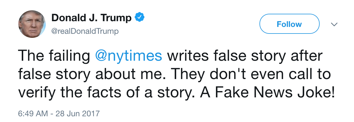 Donald TRump NYTimes fake news tweet