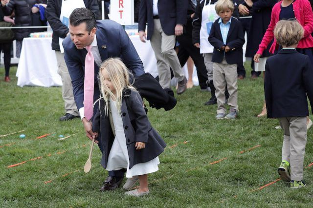 Donald Trump Jr with his daughter at the White House Easter event.