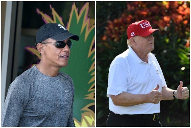 Barack Obama and Donald Trump workout clothes collage.