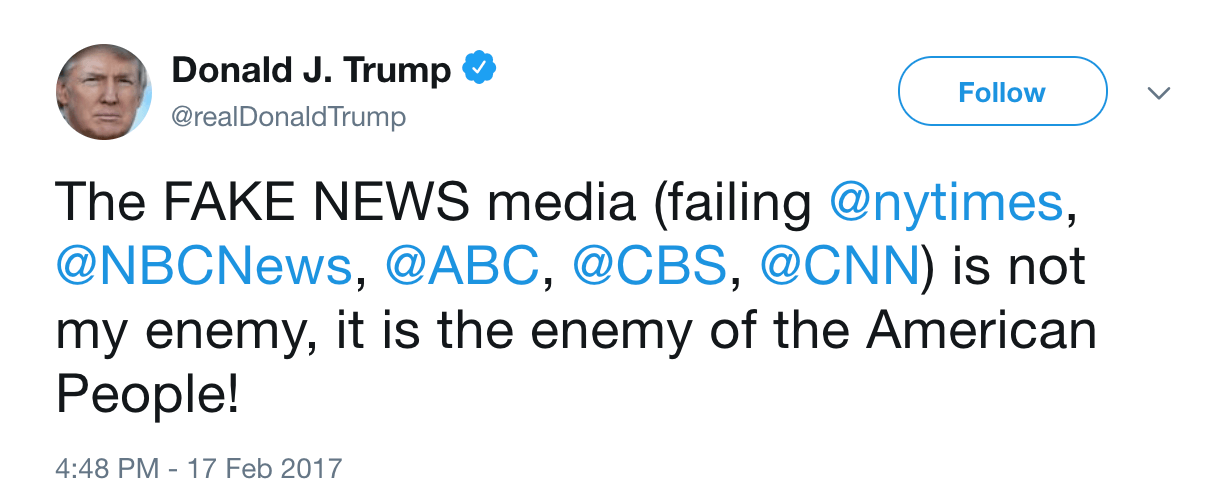 Donald Trump enemy of america tweet