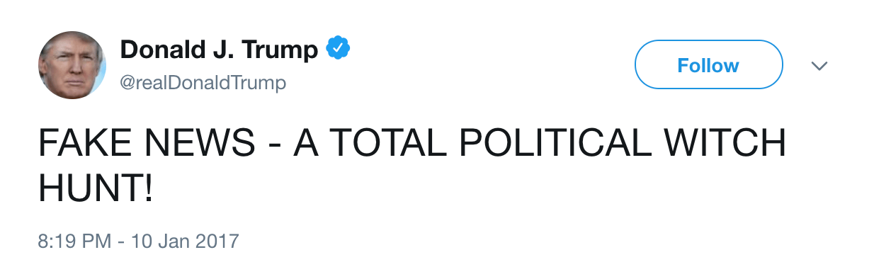 Donald Trump fake news tweet