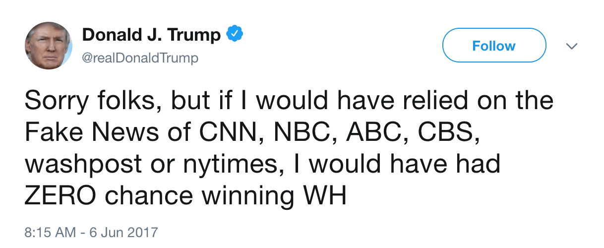 Donald Trump fake news winning tweet