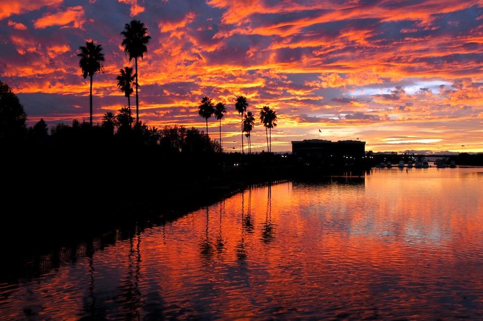 Red Sunset Reflection, Stockton Callifornia