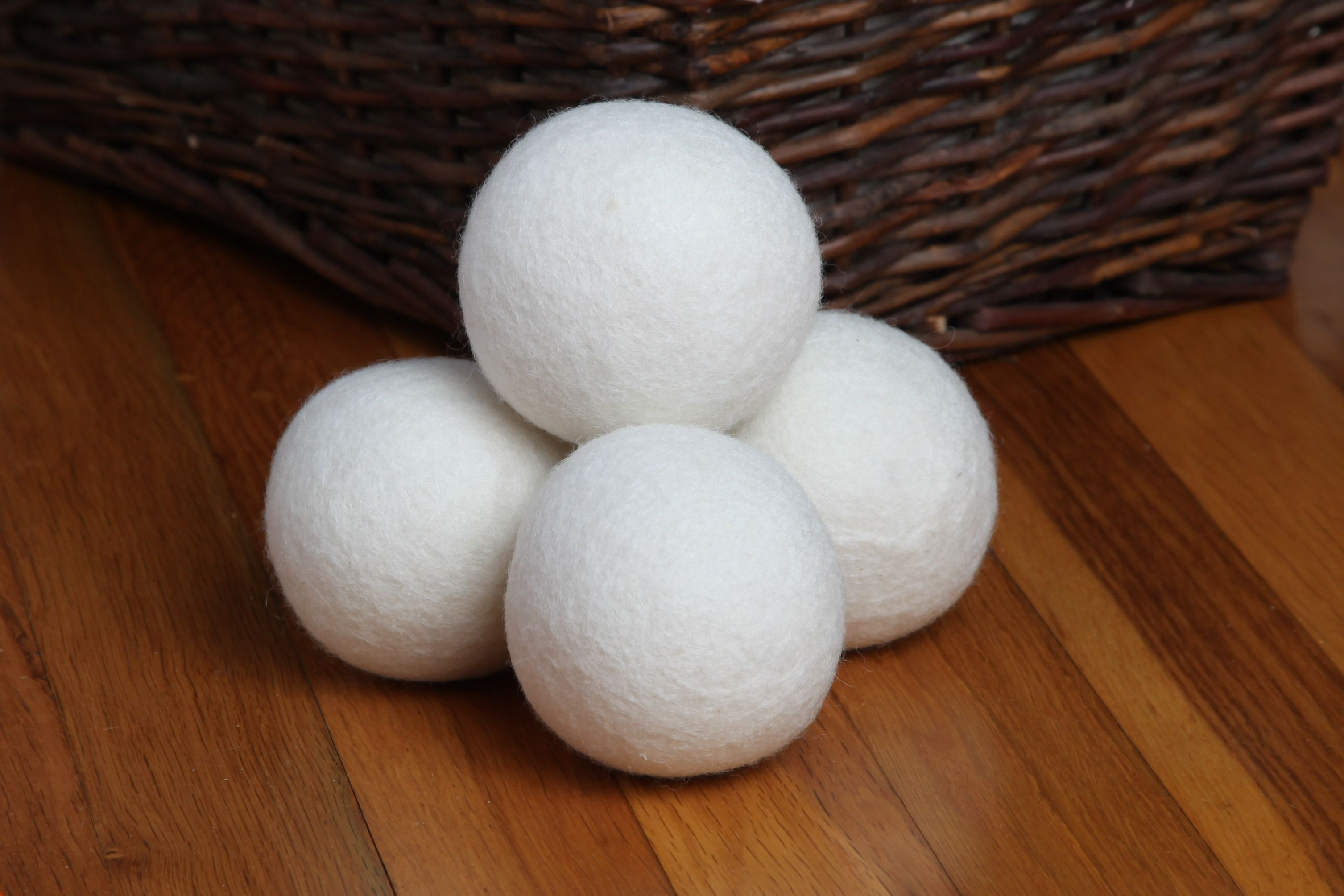 Sheep dryer ball on wooden floor