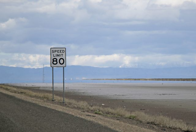 Eighty 80 miles an hour speed limit sign