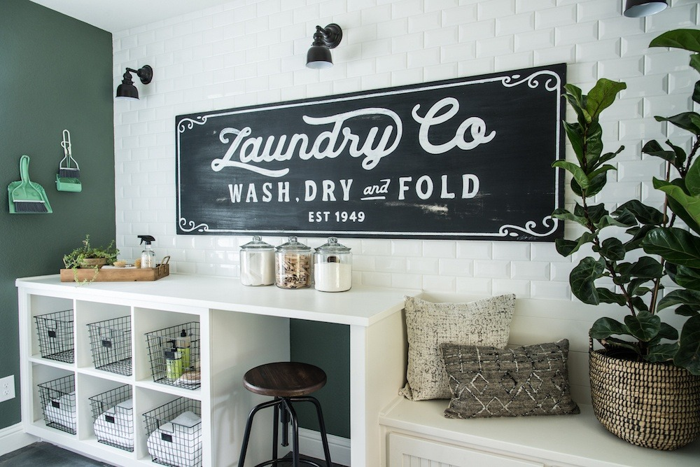 Fixer upper laundry room detergent