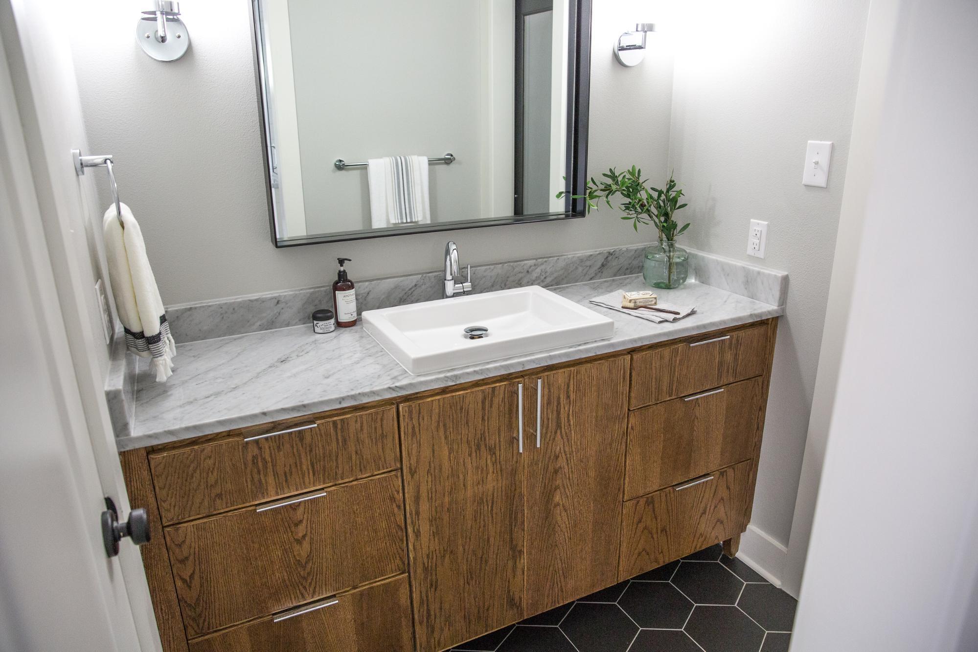 Fixer upper marble bathroom