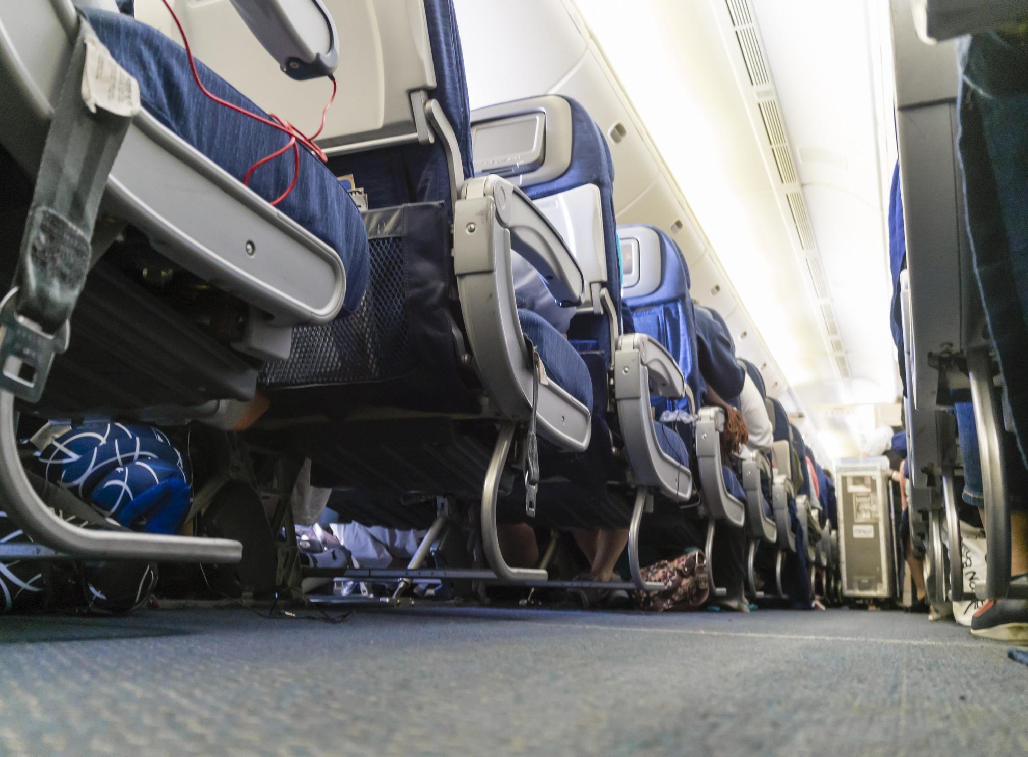 aisle of passenger airplane