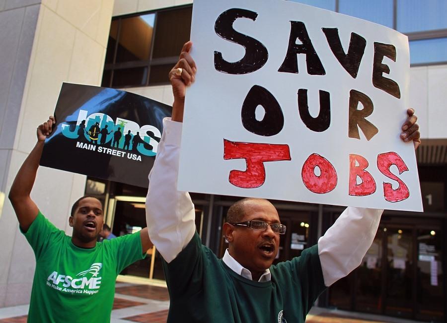 protest against Florida Gov. Rick Scott's state budget