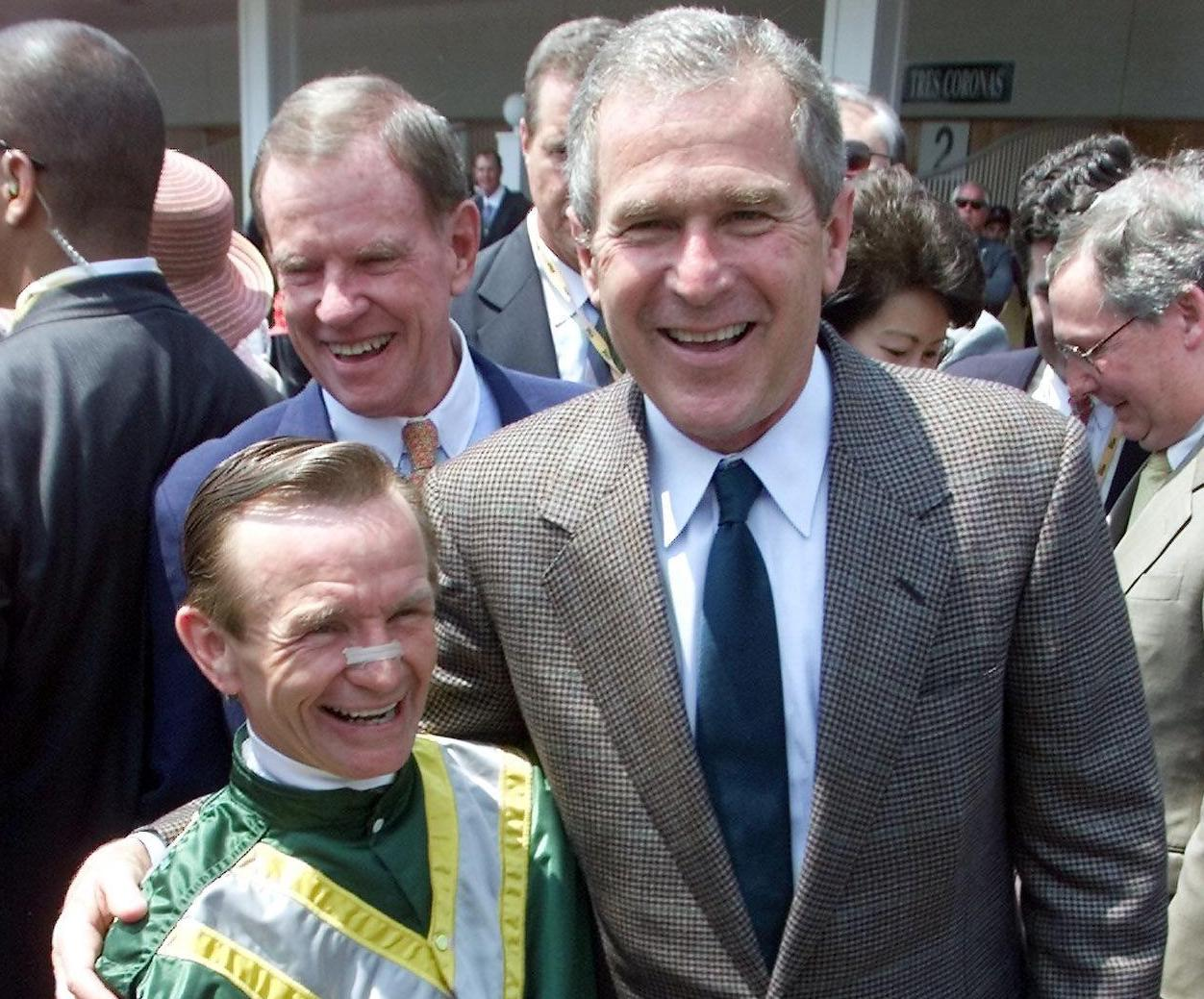 Republican presidential candidate George W. Bush at Kentucky Derby