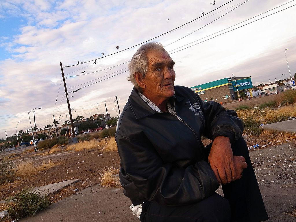 a homeless man in Las Vegas