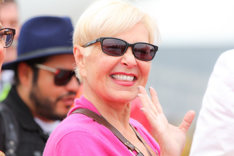 VIENNA, AUSTRIA - MAY 15: Actress Roseanne Barr arrives on the Life Ball plane on May 15, 2015 in Vienna, Austria. The Life Ball, an annual charity ball raising funds for HIV & AIDS projects, will take place on May 16, 2015 at the city hall in Vienna. (Photo by Monika Fellner/Getty Images)
