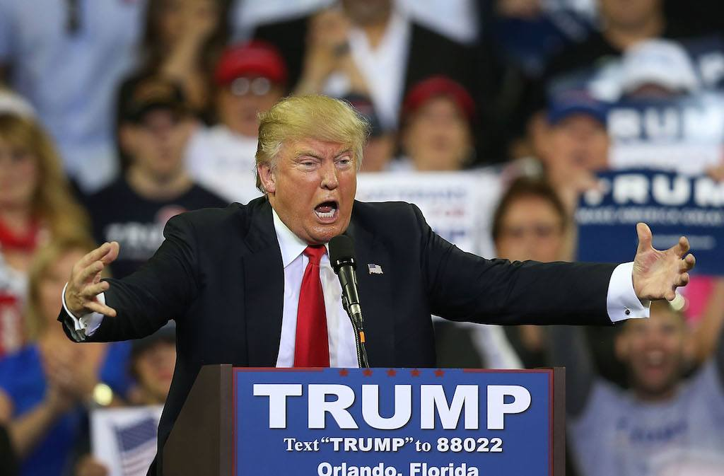 Donald Trump speaks at a rally.