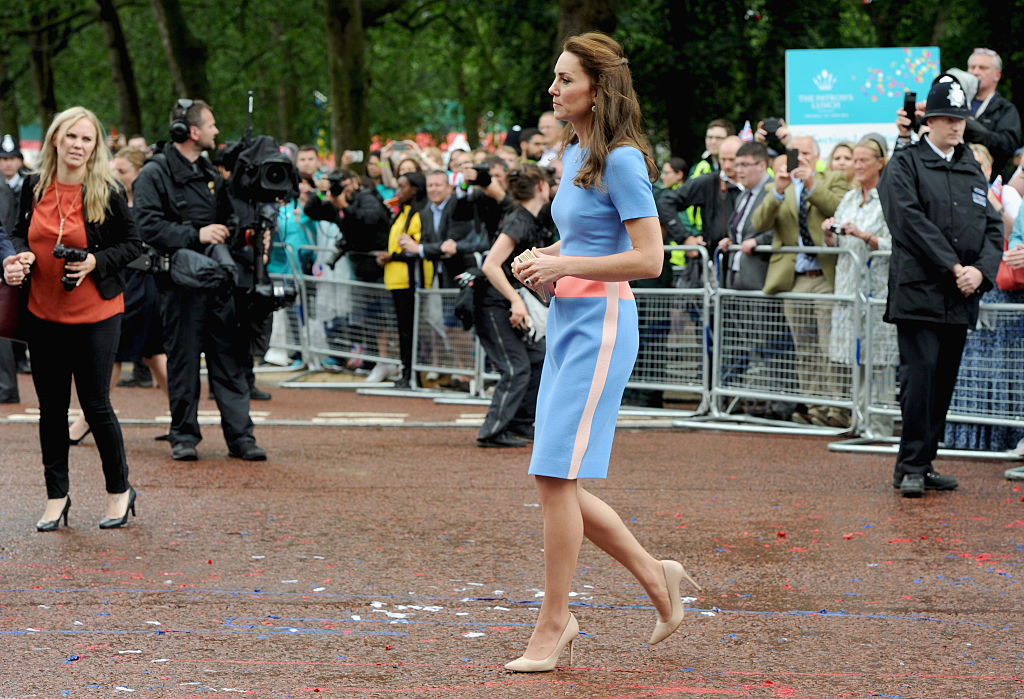 """Catherine, Duchess of Cambridge during """"The Patron's Lunch"""" celebrations for The Queen's 90th birthday at on June 12, 2016 in London, England."""