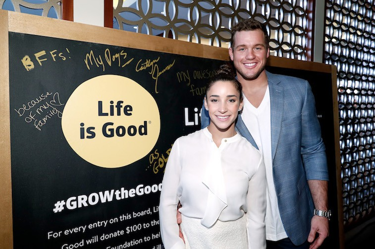 LOS ANGELES, CA - JANUARY 07: NFL player Colton Underwood and Olympic athlete Aly Raisman attend Life is Good at GOLD MEETS GOLDEN Event at Equinox on January 7, 2017 in Los Angeles, California. (Photo by Rich Polk/Getty Images for Life is Good)