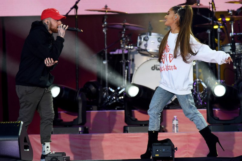 MANCHESTER, ENGLAND - JUNE 04: NO SALES, free for editorial use. In this handout provided by 'One Love Manchester' benefit concert (L) Mac Miller and Ariana Grande perform on stage on June 4, 2017 in Manchester, England. Donate at www.redcross.org.uk/love (Photo by Getty Images/Dave Hogan for One Love Manchester)