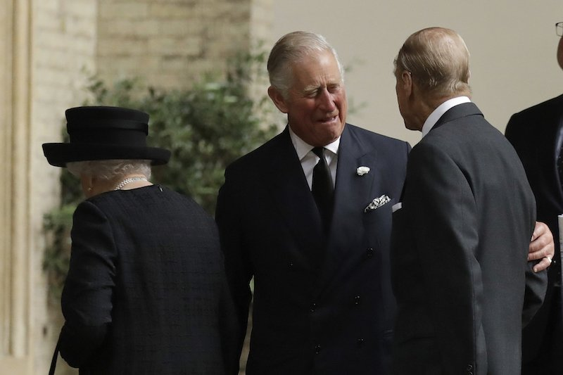 LONDON, UNITED KINGDOM - JUNE 27: Prince Philip, Duke of Edinburgh is greeted by Prince Charles, Prince of Wales as they arrive for the funeral service of Patricia Knatchbull, Countess Mountbatten of Burma at St Paul's Church in Knightsbridge on June 27, 2017 in London, England. (Photo by Matt Dunham - WPA Pool / Getty Images)