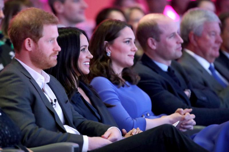 (L-R) Britain's Prince Harry, his fiancee US actress Meghan Markle, Britain's Catherine, Duchess of Cambridge and Britain's Prince William, Duke of Cambridge attend the first annual Royal Foundation Forum on February 28, 2018 in London. / AFP PHOTO / POOL / Chris Jackson (Photo credit should read CHRIS JACKSON/AFP/Getty Images)