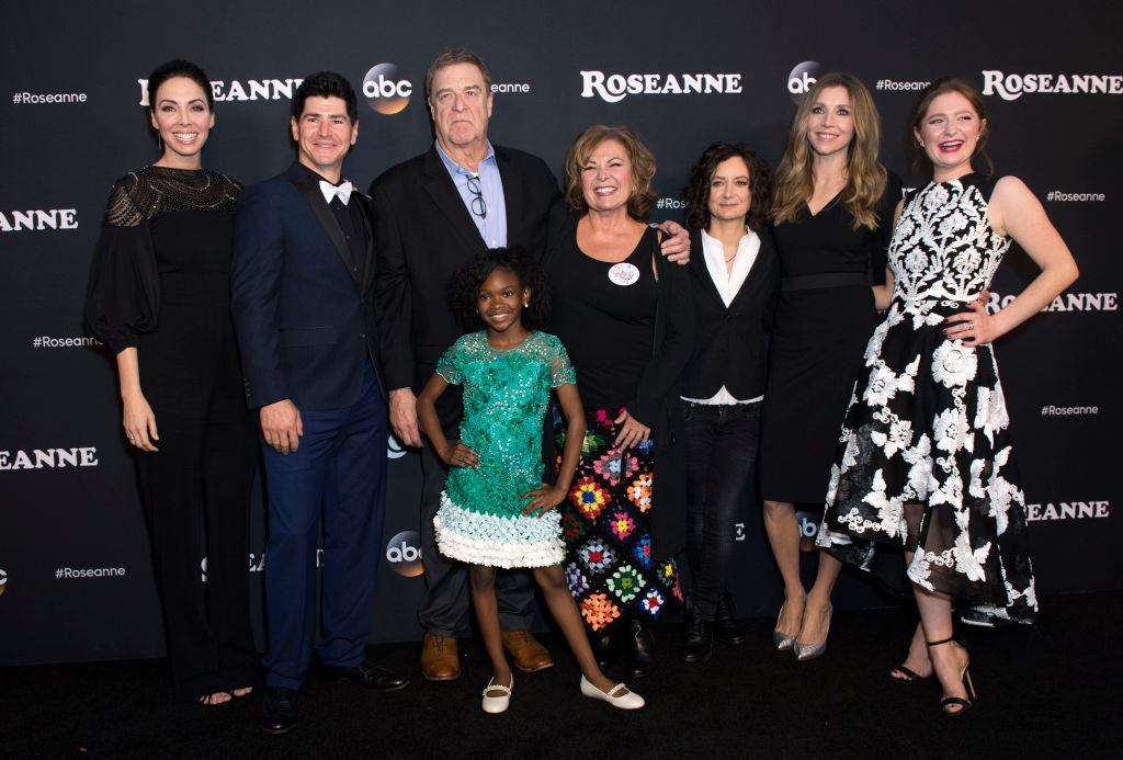 Whitney Cummings with the cast of Roseanne