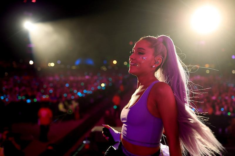INDIO, CA - APRIL 20: Ariana Grande performs with Kygo onstage during the 2018 Coachella Valley Music And Arts Festival at the Empire Polo Field on April 20, 2018 in Indio, California. (Photo by Christopher Polk/Getty Images for Coachella)