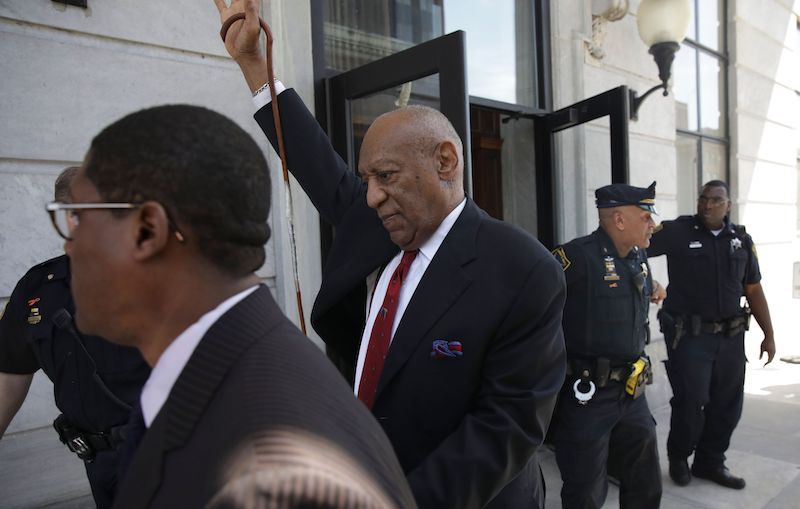 Actor and comedian Bill Cosby (C) comes out of the Courthouse after the verdict in the retrial of his sexual assault case at the Montgomery County Courthouse in Norristown, Pennsylvania on April 26, 2018. - Disgraced television icon Bill Cosby was convicted Thursday of sexual assault by a US jury -- losing a years-long legal battle that was made tougher at retrial as the first celebrity trial of the #MeToo era. (Photo by Dominick Reuter / AFP) (Photo credit should read DOMINICK REUTER/AFP/Getty Images)